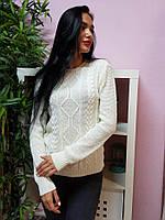 Красивый вязаный свитер белого цвета 239
