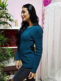 Красивый вязаный свитер темно-бирюзового цвета 240, фото 2