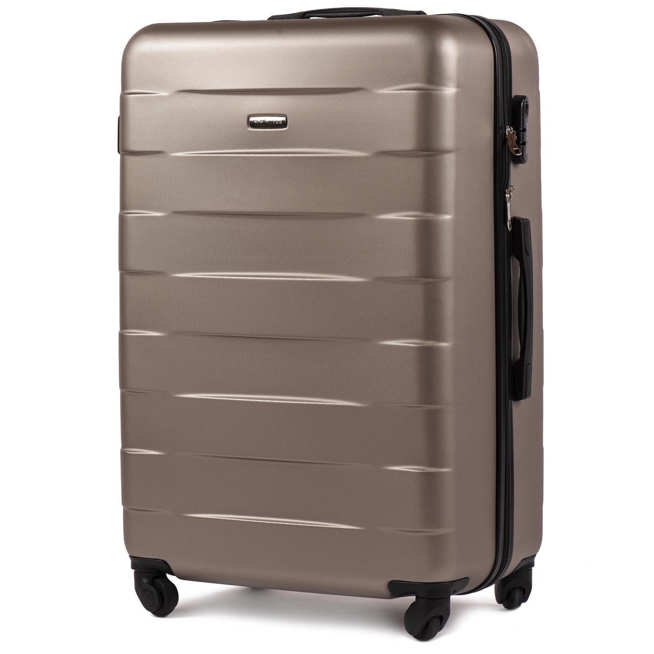Большой пластиковый чемодан Wings 401 на 4 колесах золотистый