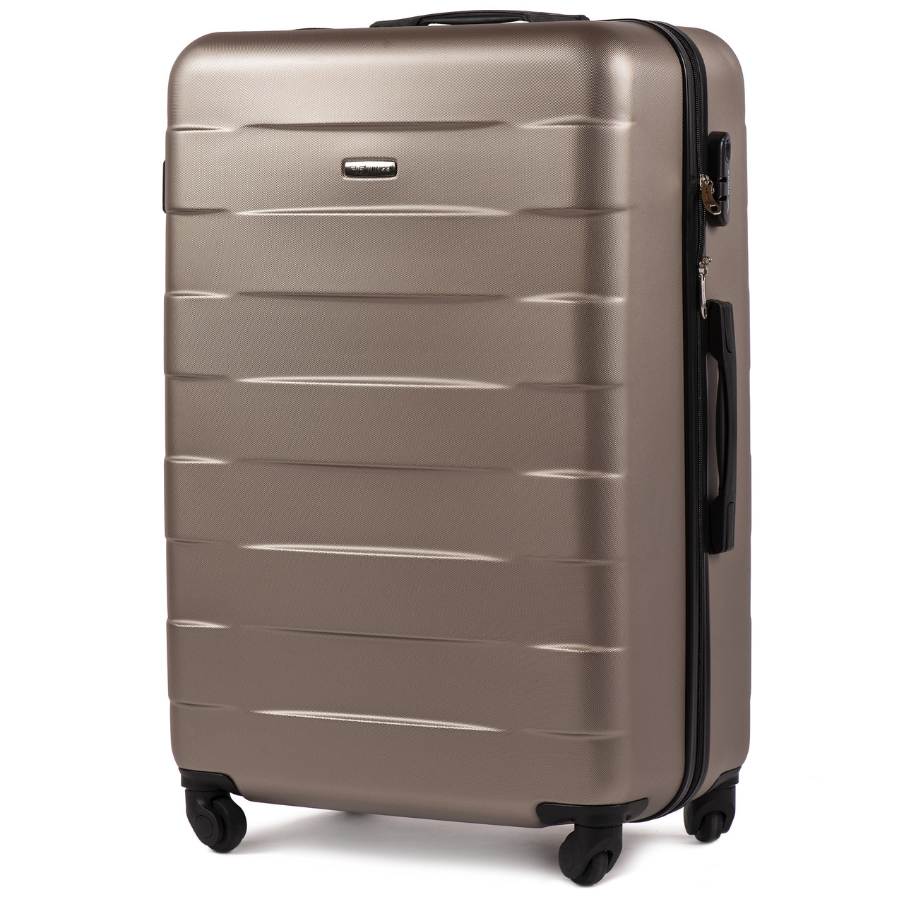 Большой пластиковый чемодан Wings 401 на 4 колесах золотистый, фото 1