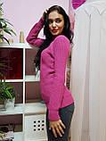 Свитер розового цвета крупной вязки с круглым вырезом 183, фото 2