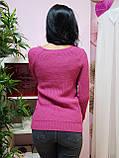 Свитер розового цвета крупной вязки с круглым вырезом 183, фото 3