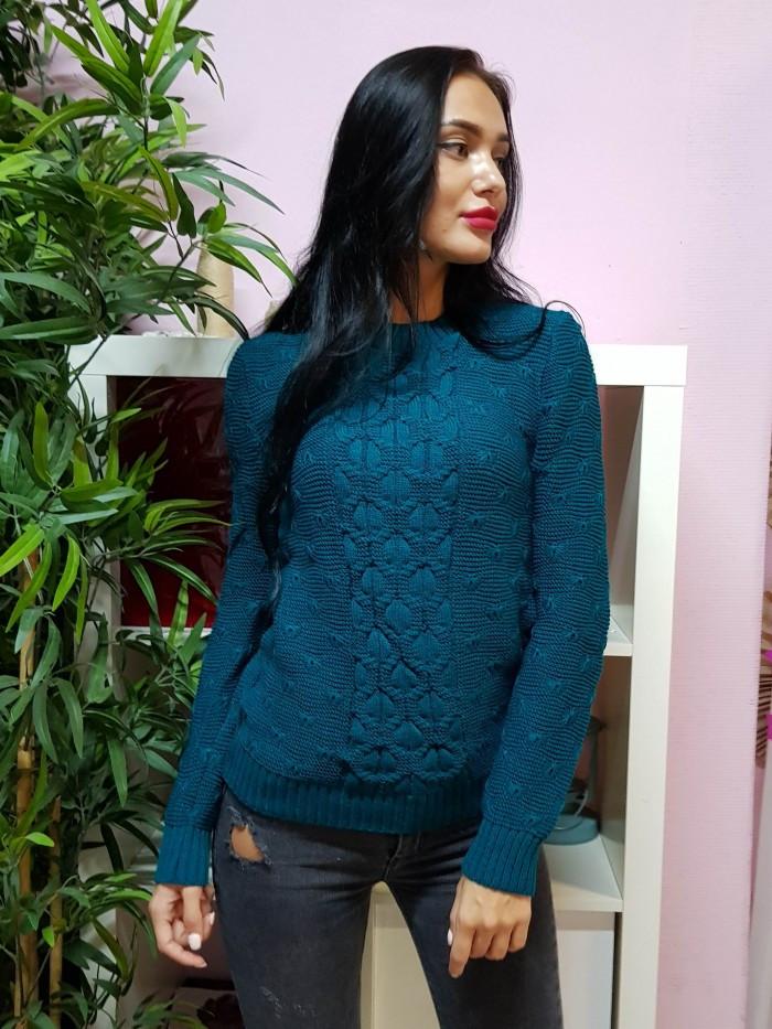 Комфортный свитер темно-бирюзового цвета 807