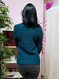 Комфортный свитер темно-бирюзового цвета 807, фото 3