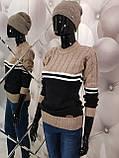 Теплий жіночий в'язаний двоколірний светр 947, фото 2