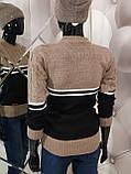 Теплий жіночий в'язаний двоколірний светр 947, фото 3