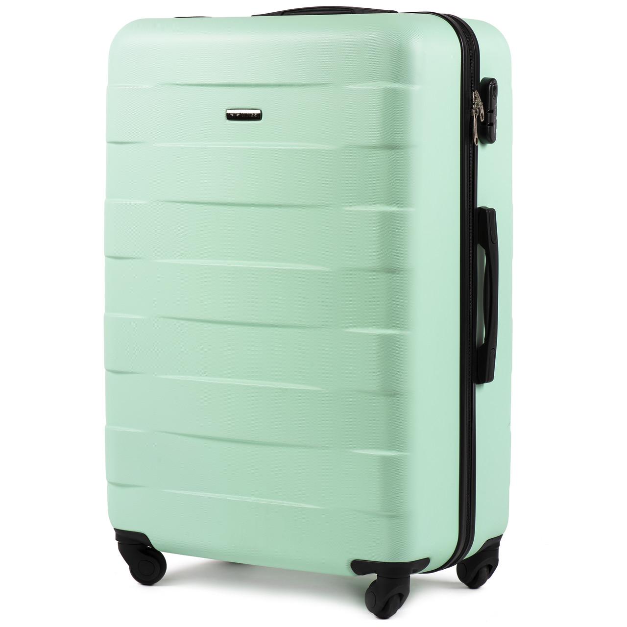 Большой пластиковый чемодан Wings 401 на 4 колесах зеленый