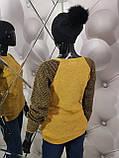 Свитер горчичного цвета декорированный жемчугом 938, фото 3