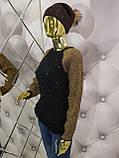 Свитер черного цвета декорированный жемчугом 939, фото 3