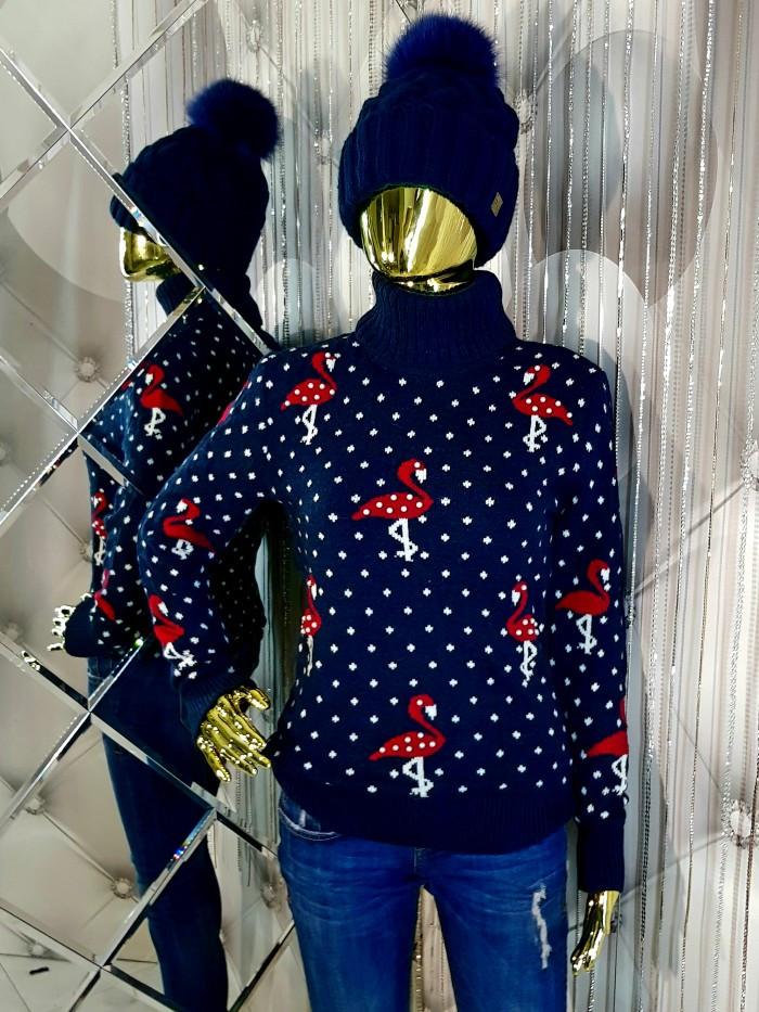 Женский вязаный трехцветный свитер 908