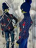 Женский вязаный трехцветный свитер 908, фото 2