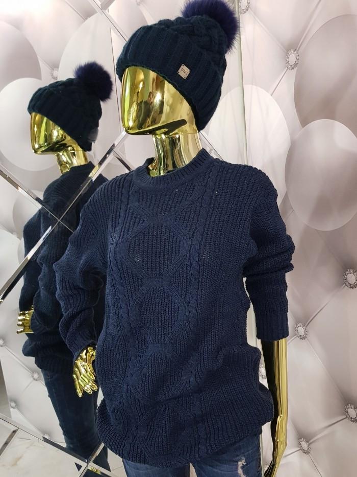Комфортный женский вязаный свитер синего цвета 959