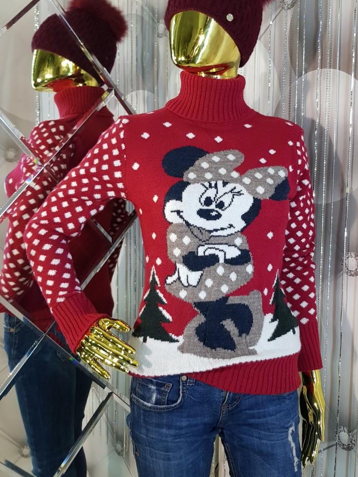 Теплый красный свитер с орнаментом Минни Маус 928