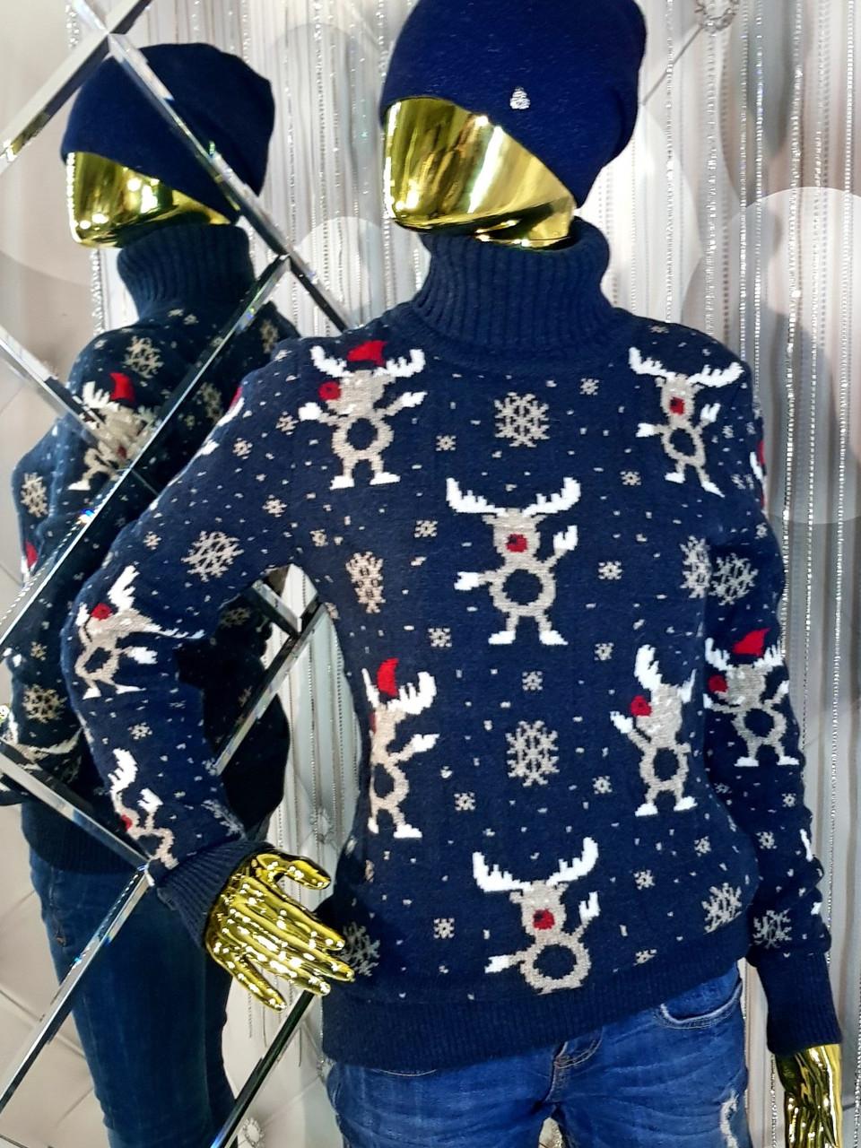 Светр синього кольору з різдвяним орнаментом 9301