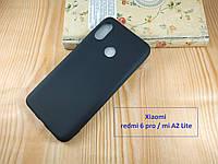 Черный матовый чехол бампер  для Xiaomi redmi 6 Pro- термополиуретан