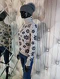 Теплый свитер двойной вязки бежевого цвета 906, фото 2