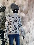 Теплый свитер двойной вязки бежевого цвета 906, фото 3
