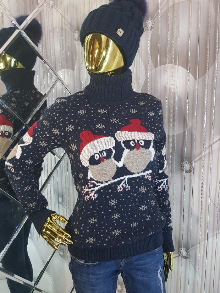 Теплий светр подвійний в'язки білого кольору 9071