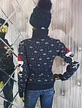 Теплий светр подвійний в'язки білого кольору 9071, фото 3