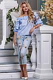 Свободная хлопковая голубая блузка СК-590, фото 3