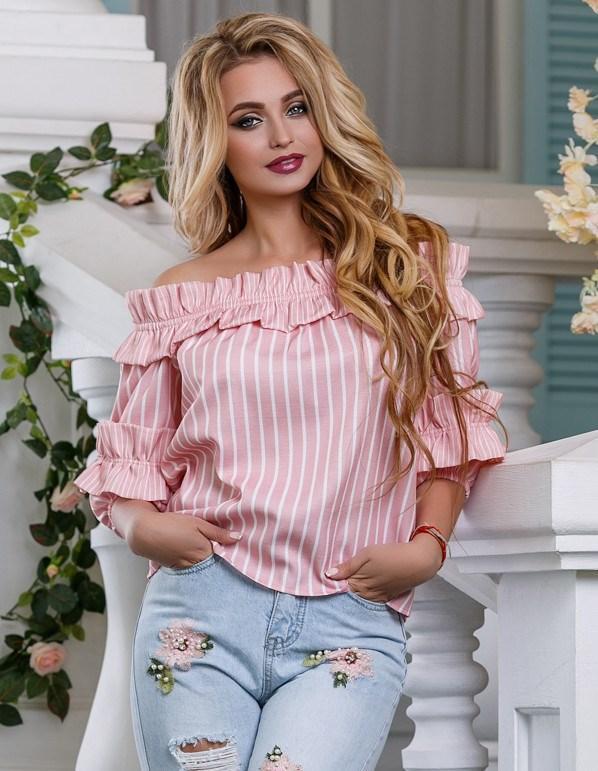 Свободная хлопковая розовая блузка СК-588