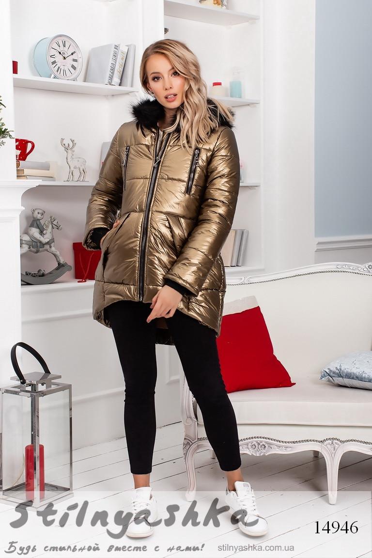 Асимметричная теплая женская куртка бронза, фото 1