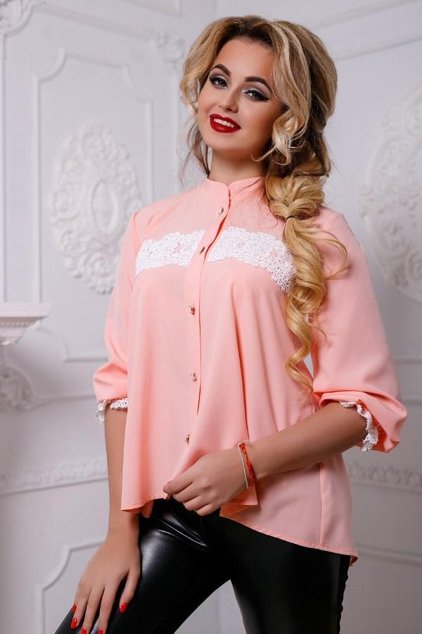 f88c6efd1dd Персиковая блузка с белым кружевом СК-578 - KORSETOV - Магазин женской  одежды и белья