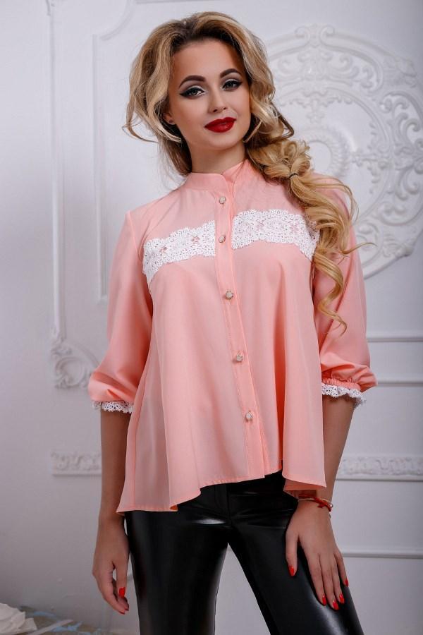 8810bea3103 Персиковая блузка с белым кружевом СК-578  продажа