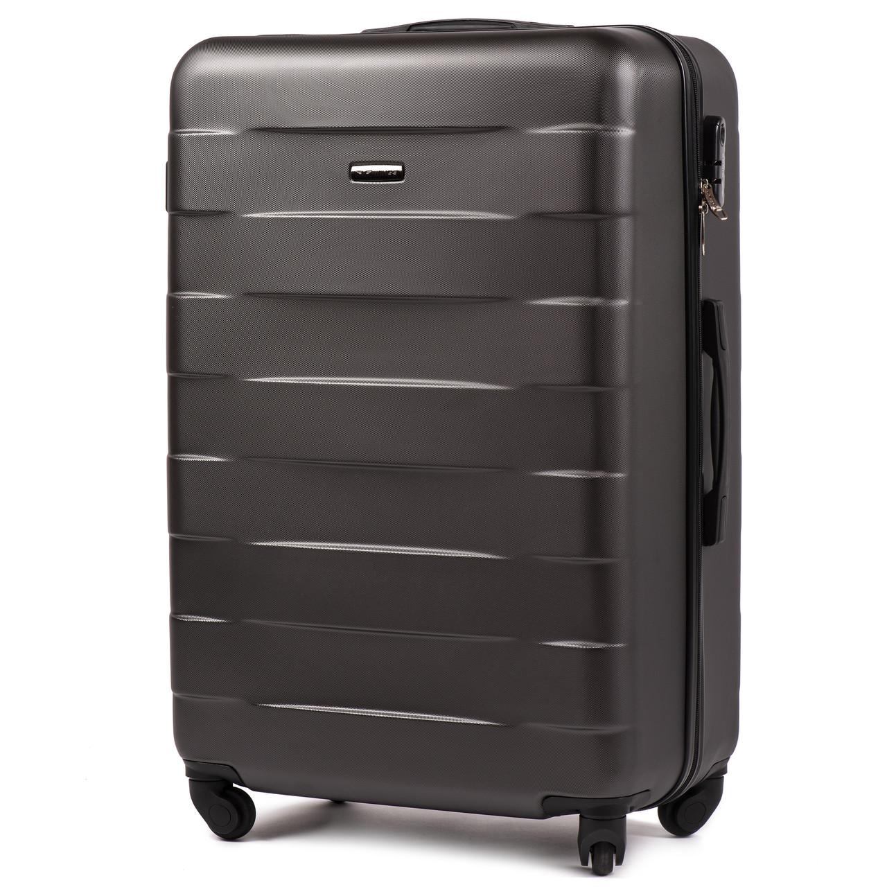 Большой пластиковый чемодан Wings 401 на 4 колесах серый