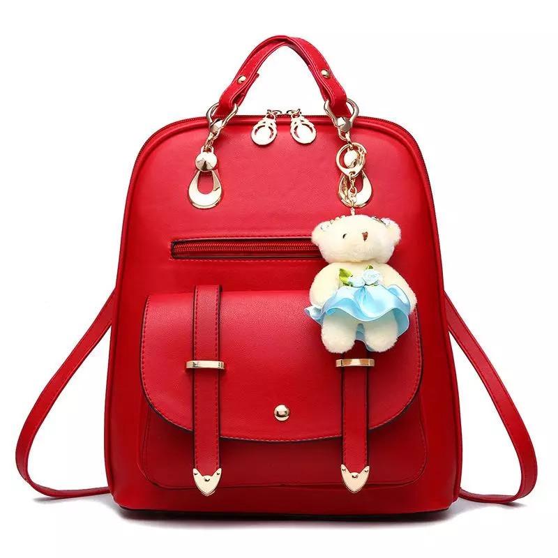 Женский рюкзак Винтаж с мишкой Тедди,Candy Bear Красный