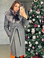 Зимнее пальто София с натуральным меховым воротником, фото 1