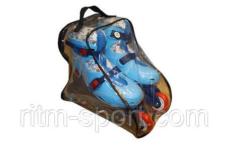 Роликовые коньки раздвижные детские  (размер 33-36) (измененение положжения колес) , фото 2