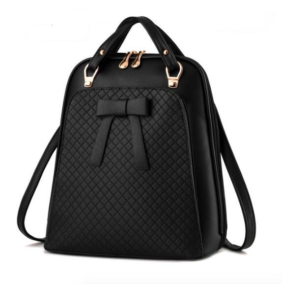 Рюкзак женский кожзам городской с бантиком Черный