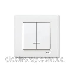 Выключатель двухклавишный с подсветкой белый Viko Karre