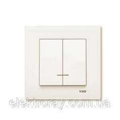 Выключатель двухклавишный с подсветкой крем Viko Karre
