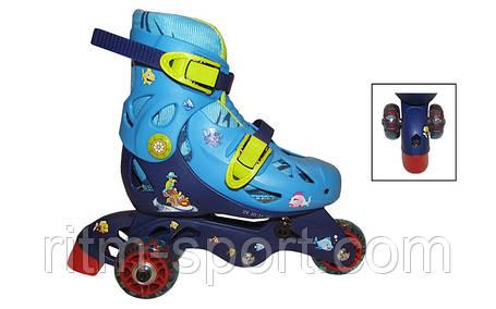 Роликовые коньки раздвижные детские N221B-XS (25-28) (изменен. полож. колес, сине-голуб) , фото 2