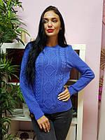 Красивый вязаный свитер лазурного цвета 234