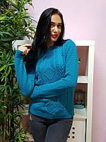 Красивый вязаный свитер бирюзового цвета 235