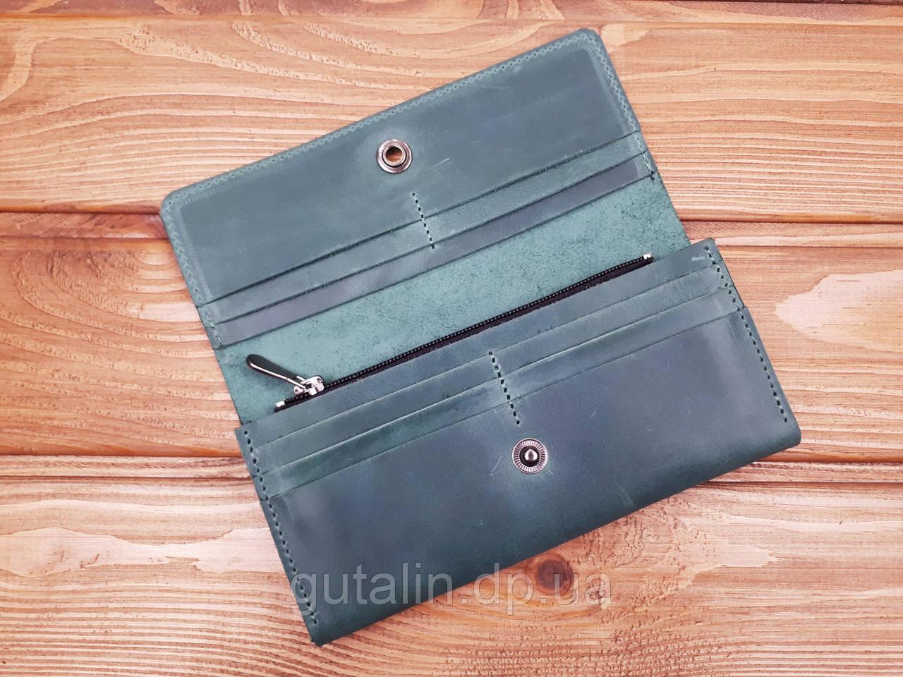 dc8c293aeaee Кошелек из натуральной кожи ручной работы на 12 карт цвет зеленый, цена 749  грн., купить в Днепре — Prom.ua (ID#846902638)
