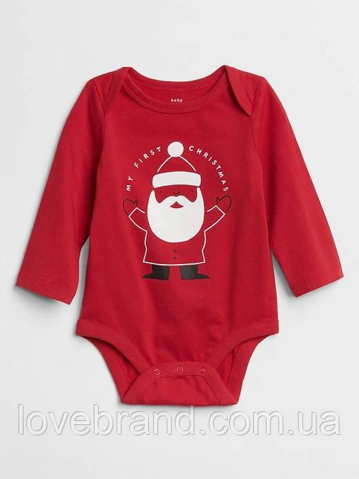 """Новогодний боди GAP """"Дед мороз"""" мое первое Рождество красный 3-6 мес/57-67 см"""