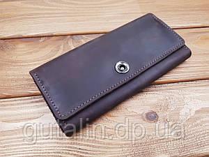 Гаманець з натуральної шкіри ручної роботи на 12 карт колір коричневий