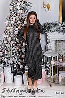 Вязанное полосатое платье хаки с черным