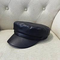 Женский картуз, кепи, фуражка из кожзама черный, фото 1