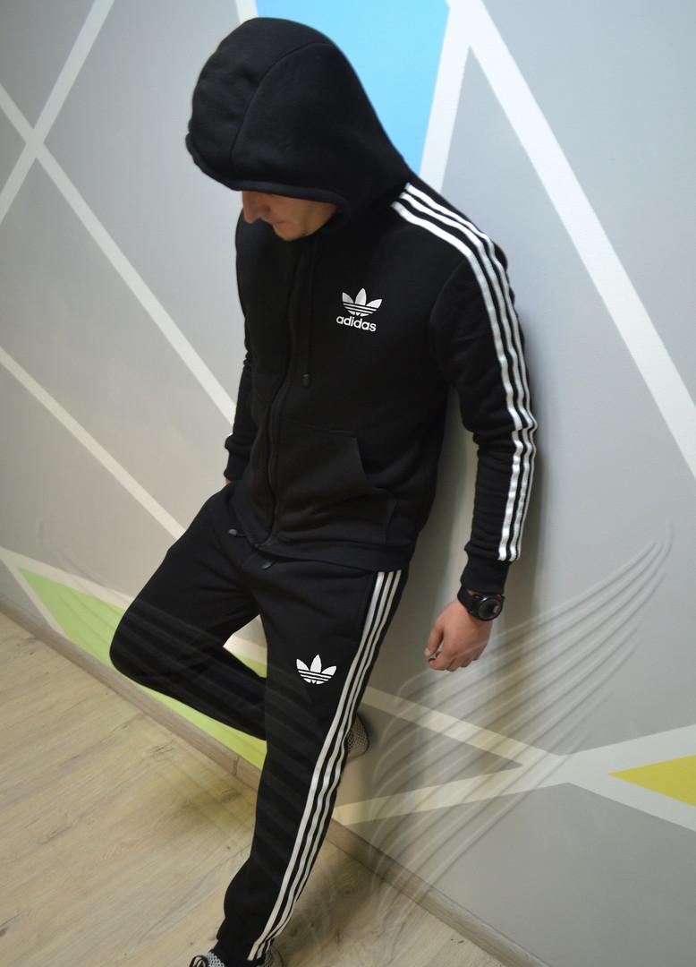 07156375 Спортивный костюм мужской теплый Adidas с капюшоном зимний утепленный.  Живое фото. реплика
