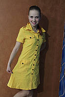 Летний сарафан-рубашка желтого цвета на пуговках, р.46
