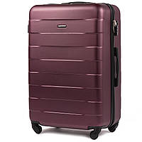 Средний пластиковый чемодан Wings 401 на 4 колесах бордовый