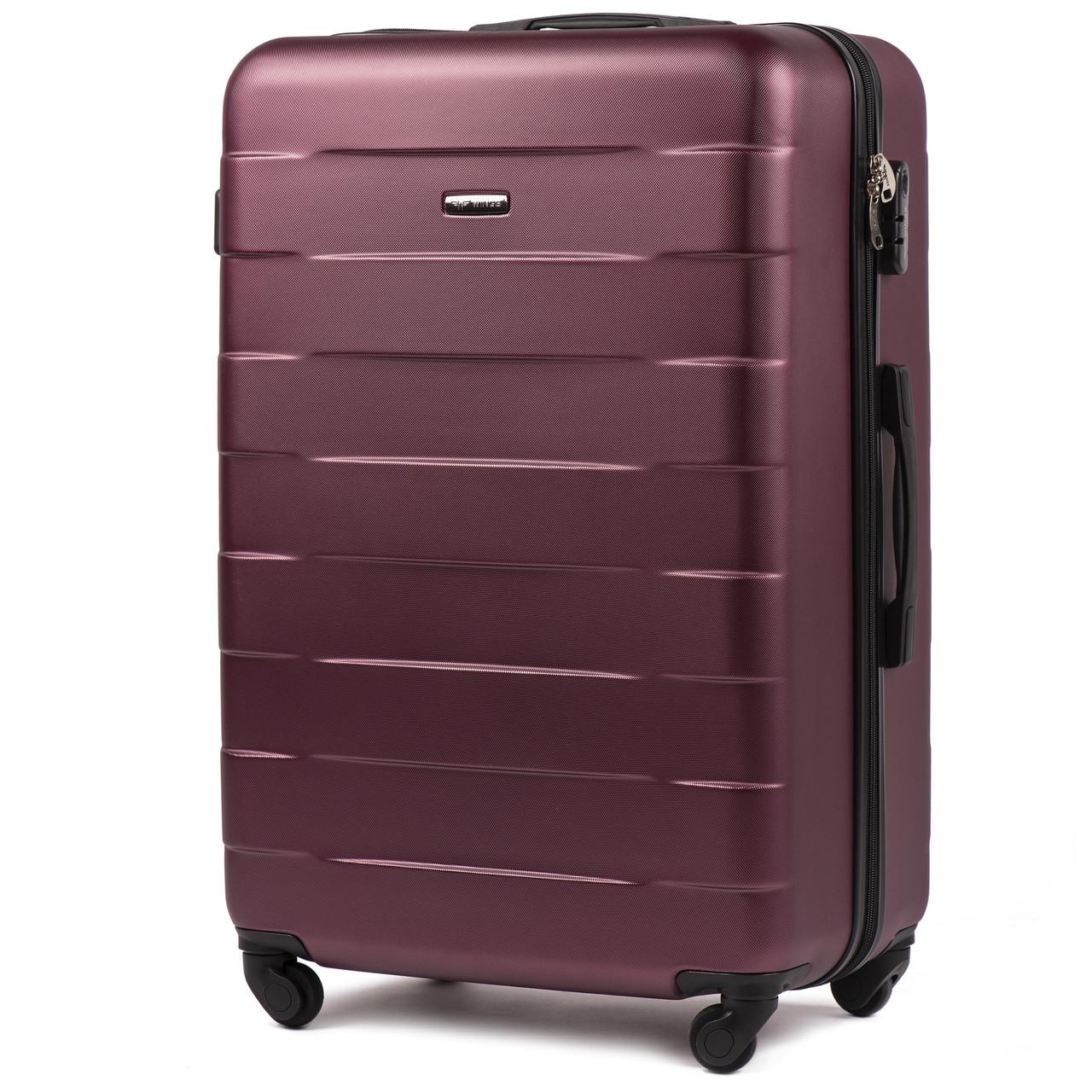 Средний пластиковый чемодан Wings 401 на 4 колесах бордовый, фото 1