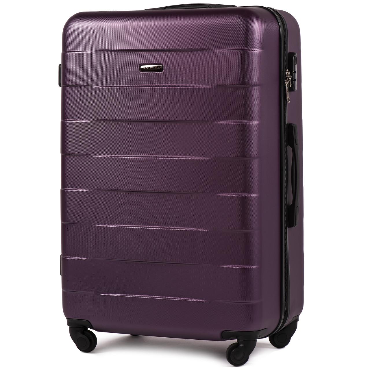 Средний пластиковый чемодан Wings 401 на 4 колесах фиолетовый