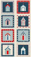 """Панель американский хлопок """"Морские домики"""" - 30*110 см (половина панели, 4 квадрата, можно целую)"""