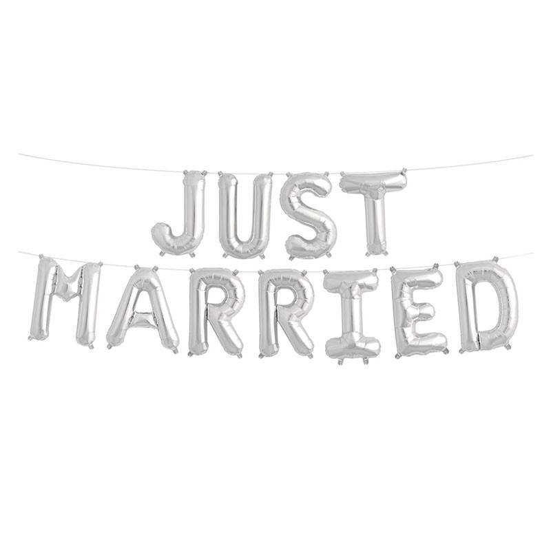 Гирлянда Just Married надувная серебряные буквы